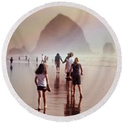 Summer At The Seashore  Round Beach Towel