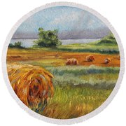 Summer Bales Round Beach Towel