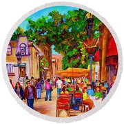 Round Beach Towel featuring the painting Summer Cafes by Carole Spandau