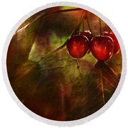 Summer Cherries 2 Round Beach Towel
