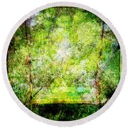 Round Beach Towel featuring the mixed media Summer Days Of Yore #1 by Sandy MacGowan