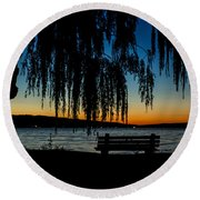 Summer Evening At Stewart Park Round Beach Towel