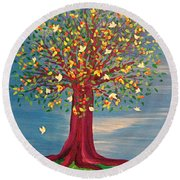 Round Beach Towel featuring the painting Summer Fantasy Tree by First Star Art