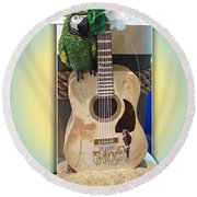 Summer Guitar Round Beach Towel