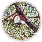 Round Beach Towel featuring the painting Summer Home by Shana Rowe Jackson