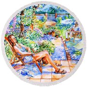 Round Beach Towel featuring the painting Summer In An Irish Garden  by Trudi Doyle