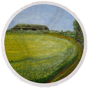 Summer In Canola Field Round Beach Towel