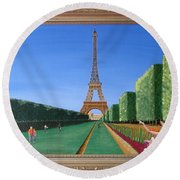 Round Beach Towel featuring the painting Summer In Paris by Ron Davidson