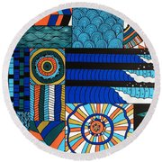 Summer In The Water Round Beach Towel