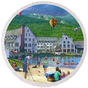 Summer In Waterville Valley Round Beach Towel