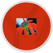 Round Beach Towel featuring the painting Summer Kissed Cone Flower by Jackie Carpenter