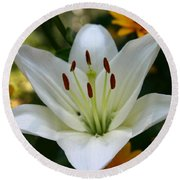 Round Beach Towel featuring the photograph Summer Lily by Denyse Duhaime