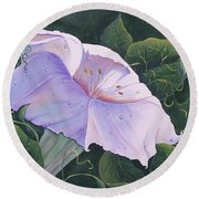 Morning Glory  Round Beach Towel