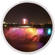 Summer Night In Niagara Falls Round Beach Towel
