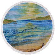 Round Beach Towel featuring the painting Summer/ North Wales  by Teresa White