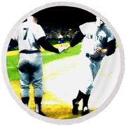 Summer Of The Gods  Iv 1961 Mickey Mantle Round Beach Towel by Iconic Images Art Gallery David Pucciarelli