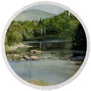 Round Beach Towel featuring the painting Summer On The River In Vermont by Laurie Rohner