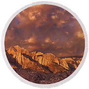 Round Beach Towel featuring the photograph Summer Storm Clouds Over The Eastern Sierras California by Dave Welling