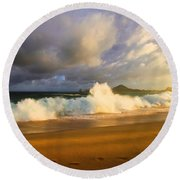 Round Beach Towel featuring the photograph Summer Storm by Eti Reid