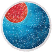 Summer Sun Original Painting Round Beach Towel