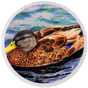 Round Beach Towel featuring the photograph Summer Swim by Denyse Duhaime