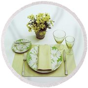 Summer Table Setting Round Beach Towel