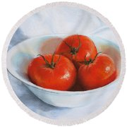 Summer Tomatoes Round Beach Towel