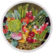 Summer Vegetables Round Beach Towel by EB Watts