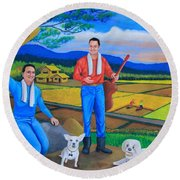 Round Beach Towel featuring the painting Summer View by Lorna Maza