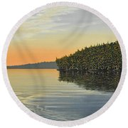 Round Beach Towel featuring the painting Summers End by Kenneth M  Kirsch