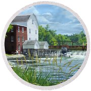Summertime At The Old Mill Round Beach Towel