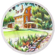 Round Beach Towel featuring the painting Summertime At Ursuline No C101 by Kip DeVore