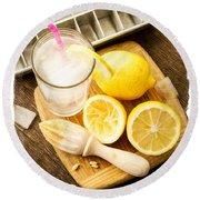 Summertime Lemonade Round Beach Towel