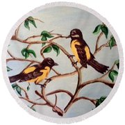 Round Beach Towel featuring the painting Summertime by Sheri Keith
