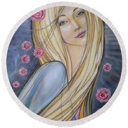 Sun And Roses 081008 Round Beach Towel by Selena Boron