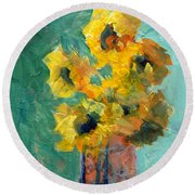 Sun And Shadow Round Beach Towel