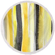 Sun And Shadows- Abstract Painting Round Beach Towel