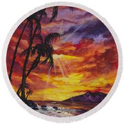 Round Beach Towel featuring the painting Sun Burst by Darice Machel McGuire