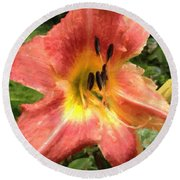 Sun Day Lilly  Round Beach Towel