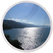 Sun Flare On The Bay Round Beach Towel by Victoria Harrington