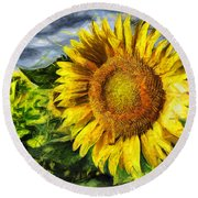 Sunflower Drawing  Round Beach Towel