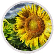 Sunflower Drawing  Round Beach Towel