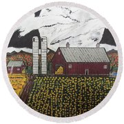Sun Flower Farm Round Beach Towel