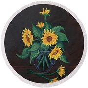 Round Beach Towel featuring the painting Sun Flowers  by Sharon Duguay