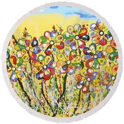Sun-kissed Flower Garden Round Beach Towel
