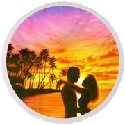 Sun Lovers Sun Worshippers Round Beach Towel
