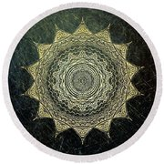 Sun Mandala - Background Variation Round Beach Towel by Klara Acel