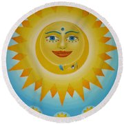 Sun-moon-stars Round Beach Towel