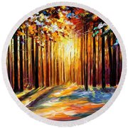 Sun Of January - Palette Knife Landscape Forest Oil Painting On Canvas By Leonid Afremov Round Beach Towel