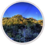 Sun On Autumn Trees Round Beach Towel by Jonny D